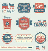 Vector Set: Vintage Political Science Class Labels and Icons — Stock Vector