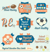 Vector Set: Vintage Physical Education Class Labels and Icons — Stock Vector
