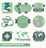 Vector Set: Vintage Geography Class Labels and Icons — Stock Vector