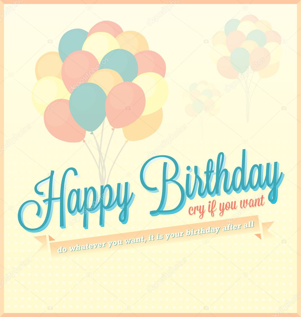 vintage happy birthday card and wallpaper  stock vector, Birthday card