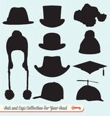 Hats and Caps Collection — Stock Vector