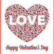 Love Heart Valentine&#039;s Day Card with 3D Effect - Stock Vector