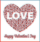 Love Heart Valentine's Day Card with 3D Effect — Stock Vector