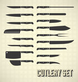 Vector Set: Kitchen Knives and Cutlery — Stock Vector