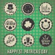 Vector Set: VIntage St. Patricks Day Labels and Icons - Векторная иллюстрация