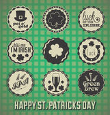 Vector Set: VIntage St. Patricks Day Labels and Icons — Vetor de Stock