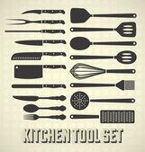 Vector Set: Kitchen Utensils Set — Stock Vector