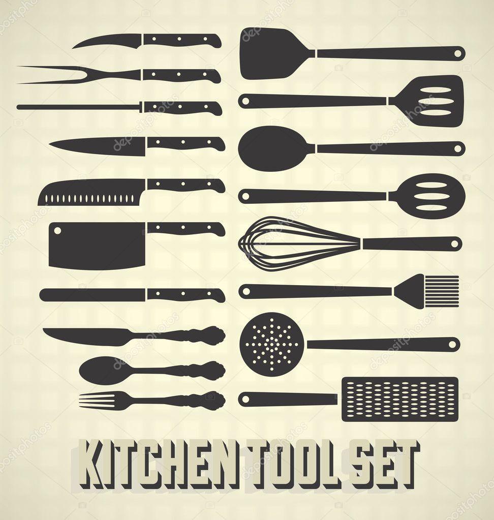 Vector Set: Kitchen Utensils Set — Stock Vector © vreddane ...