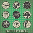 Vector Set: Vintage Happy Earth Day Labels and Icons — Stock Vector
