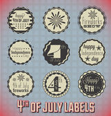 Vector Set: Vintage Fourth of July Labels and Icons — Stock Vector