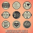Stock Vector: Vector Set: Vintage Happy Mothers Day Labels and Icons