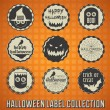 Stock Vector: Vector Set: VIntage Happy Halloween Labels and Icons