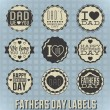 Vector Set: Vintage Happy Fathers Day Labels — Stock vektor