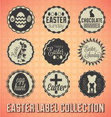 Vector Set: Vintage Happy Easter Labels and Icons — Stock Vector