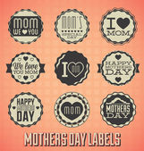 Vector Set: Vintage Happy Mothers Day Labels and Icons — Stock Vector