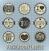 Vector Set: Vintage Happy Fathers Day Labels — Stock Vector