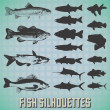 Vector Set: Fish Silhouettes — Stock Vector