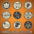 Vector Set: Vintage Happy Thanksgiving Day Labels — Stock Vector