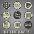 Vector Set: Black Friday Sale Labels and Icons — Stock Vector
