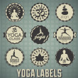 Vector Set: Yoga Labels and Icons — ストックベクタ