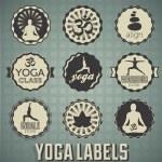 Vetor ajustado: etiquetas de ioga e ícones — Vetorial Stock