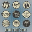 Stock Vector: Vector Set: April Fool's Day Labels and Icons
