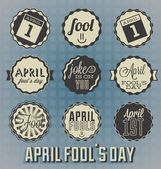 Vector Set: April Fool's Day Labels and Icons — ストックベクタ