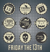 Vector Set: Friday the 13th Labels and Icons — Stock Vector