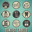 Stock Vector: Vector Set: Dentist and Teeth Brushing Labels and Icons