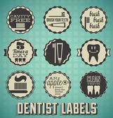 Vector Set: Dentist and Teeth Brushing Labels and Icons — Stock Vector
