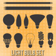 Vector Set: Light Bulb Silhouettes — Stock Vector
