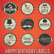 Royalty-Free Stock Vector Image: Vector Set: Vintage Happy Birthday Labels and Icons