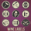 Stock Vector: Vector Set: VIntage Wine Labels and Icons