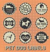 Vector Set: Vintage Pet Dog Labels and Icons — ストックベクタ