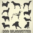 Vector Set: Dog Silhouettes — Stok Vektör