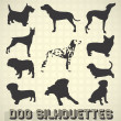 Vector Set: Dog Silhouettes - Stock Vector