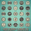 Vector Set: Mixed Vintage Holiday Labels and Icons — Stock Vector