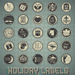 Stock Vector: Vector Set: Vintage Mixed Holiday Labels and Icons