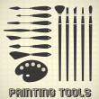 Vector Set: Painting Tools Silhouettes — Stock Vector