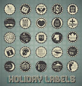 Vector Set: Vintage Mixed Holiday Labels and Icons — Stock Vector