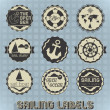 Vector Set: Vintage Sailing Labels and Icons — Stock Vector