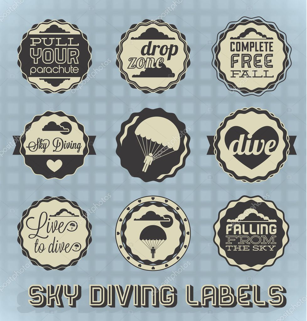 diving labels and icons