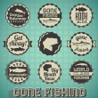 Vector Set: Vintage Gone Fishing Labels and Icons — Stock Vector #22954372
