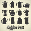 Stock Vector: Vector Set: Vintage Coffee Pot Silhouette Icons