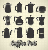 Vector Set: Vintage Coffee Pot Silhouette Icons — Stock Vector
