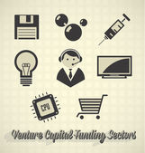 Vector Icon Set: Venture Capital Funding Sectors — Stock Vector
