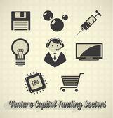 Vector Icon Set: Venture Capital Funding Sectors — Stock Vector