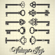 Vector Set: Vintage Key Silhouettes — Stock Vector