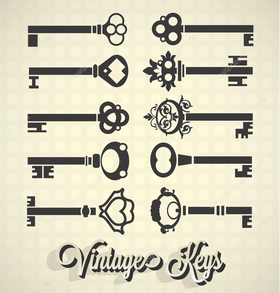 Vector Key Illustration: Vector Set: Vintage Key Silhouettes