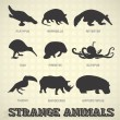 Vector Set: Strange and Odd Animal Silhouettes — Stock Vector